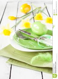 easter or spring table setting with daffodils royalty free stock
