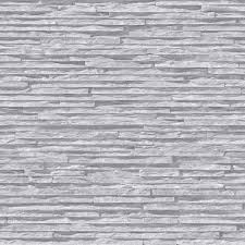 muriva bluff slate pattern stone brick grey vinyl wallpaper j27619