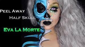 crazy peel away half skull makeup body paint tutorial youtube