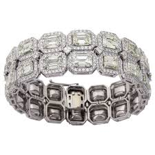 diamond emerald bracelet images Stunning emerald cut diamond platinum link bracelet for sale at jpg