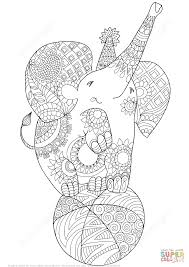cute elephant zentangle coloring page free printable coloring pages