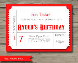 pizza arcade birthday party invitation printable birthday