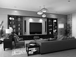 black and white living room with accent color carpeted flooring