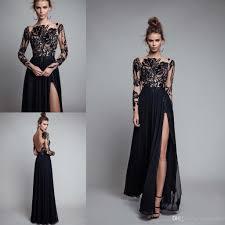 berta long black prom dresses 2017 sheer lace long sleeves bateau