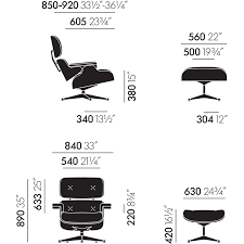 Lounge Chair Dimensions Eames Lounge Chair U0026 Ottoman Black Edition New Larger Dimensions