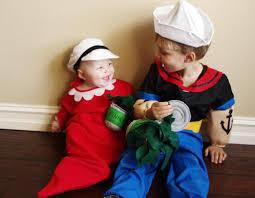 Popeye Olive Halloween Costume Popeye és Olivia Farsangi Jelmez ötletek Ikreknek Costume