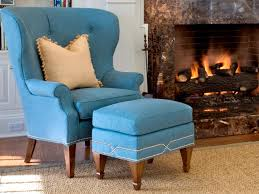 furniture area rug design with cool blue wingback chair also