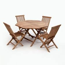 Patio Furniture Without Cushions Bali Brown 5 Wood Octagon Outdoor Dining Set Without