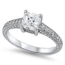 925 sterling silver engagement rings 1 30 carat princess cut square white russian cz 925