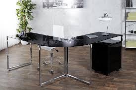 bureau d angle verre bureau d angle design en verre noir et chrome 180 cm
