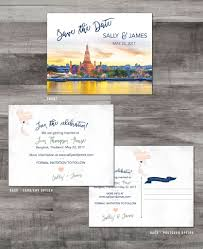 Thailand Wedding Invitation Card Bangkok Thailand Save The Date Watercolor U2013 Katlem Design