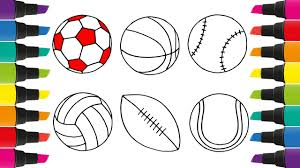 how to draw a set of sports balls coloring pages for kids to