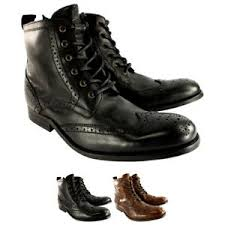 ankle boots uk ebay mens h by hudson angus brogue leather lace up smart ankle boots uk