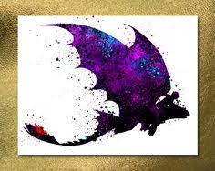how to train your dragon toothless night fury watercolor poster