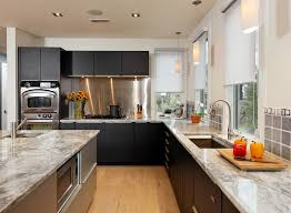 Black Cabinets White Countertops Backsplashes For Granite Countertops Kitchen Transitional With