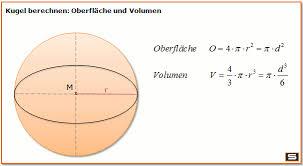fläche kreis formel kugel berechnen kugelvolumen kugeloberfläche formel