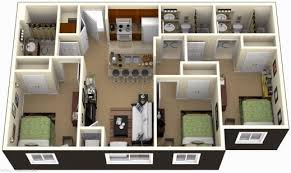 Small 3 Bedroom House Floor Plans Marvelous 3 Bedroom House Plans 3d Design Artdreamshome 2 With Bat