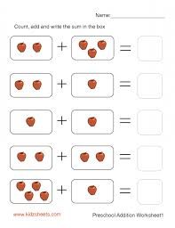 addition math worksheets for kindergarten worksheet printable dom