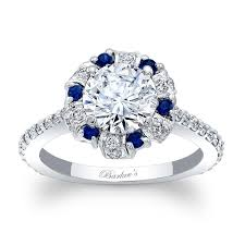 barkev s blue sapphire halo engagement ring 7964lbs - Sapphire Halo Engagement Rings