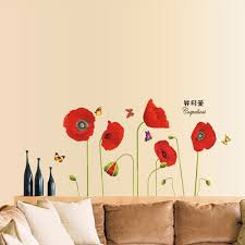Eiffel Tower Wall Decals Bright Red Corn Poppy Beautiful Diy Wall Wallpaper Stickers Art