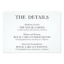wedding reception card typography wedding reception details card zazzle