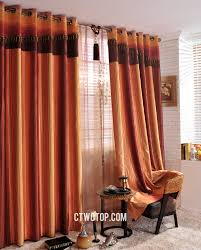 Orange And Brown Curtains Striped Contemporary Window Chintz Burnt Orange Curtains
