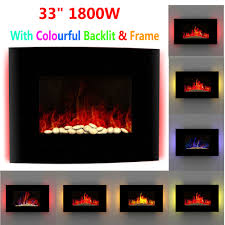 electric fireplace 1850w fire wood flame heater stove living room