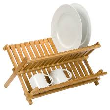 Dish Rack Folding Bamboo Dish Rack The Container Store - Kitchen sink with drying rack