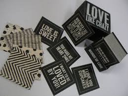 like words of box sign with printed cards