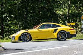 yellow porsche racing yellow porsche 911 gt2 rs spotted at nürburg