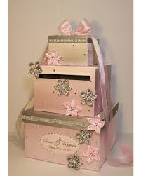 wedding money box sale wedding card box light pink and silver gift card box