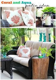 coral and aqua patio decor and a recipe refresh restyle