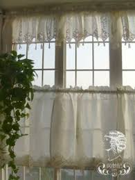 Crochet Valance Curtains Set Of French Country Lace Crochet Cafe Kitchen Curtain With