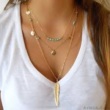 necklace trendy images Fashion multilayer leaves feather y necklaces trendy tassels jpg