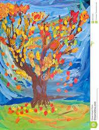 children drawing autumn tree witn fall leaves royalty free stock