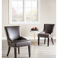 safavieh loire grey leather nailhead dining chair set of 2