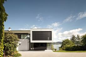 architecture minimalist lakeside house exterior color modern