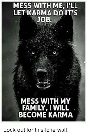 Lone Wolf Meme - mess with me ill let karma do it s job mess with my family i will