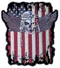 Dominican Republic Flag Patch Large Patriotic American Flag Fighter Pilot Skull With Wings Biker