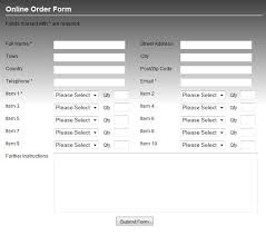 standard order form template code on time sample applications