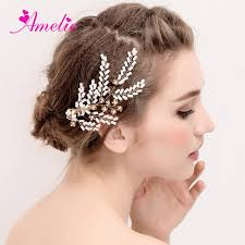 wedding hair clip continental golden bridal jewelry white side hair clip