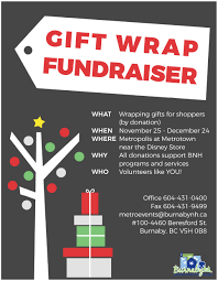 christmas wrapping paper fundraiser burnaby neighbourhood house gift wrapping fundraiser