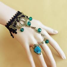 ring charm bracelet images Blue crystal black lace retro alloy charm bracelet attached rings jpg
