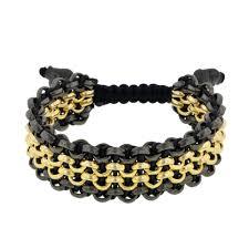 black bracelet with charm images Men 39 s 14kt gold hi gloss black chain black leather sport links jpg