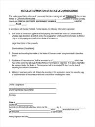 30 Day Notice Of Termination by Notice Of Commencement Forms 6 Free Documents In Word Pdf