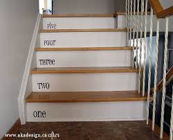modern style painted basement stairs with danks and honey