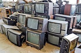 nonworking pile of non working old tvs close up stock photo picture and