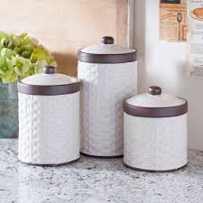cream woven kitchen canisters set of 3 kitchen canisters