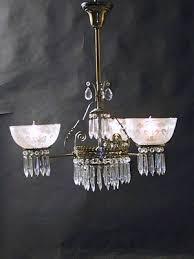 Gas Chandelier Genuine Antique Lighting 3 Light Eastlake Gas Chandelier With Prisms