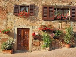 tuscan house beautiful doorway to tuscan house stock photo
